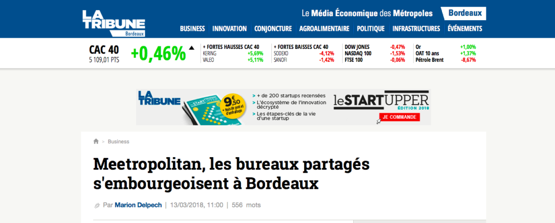 Article de presse la tribune, le Meetropolitan espace de coworking Bordeaux centre